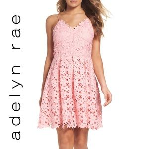 •Adelyn Rae• NWT Lace Fit & Flare Dress Blush Pink